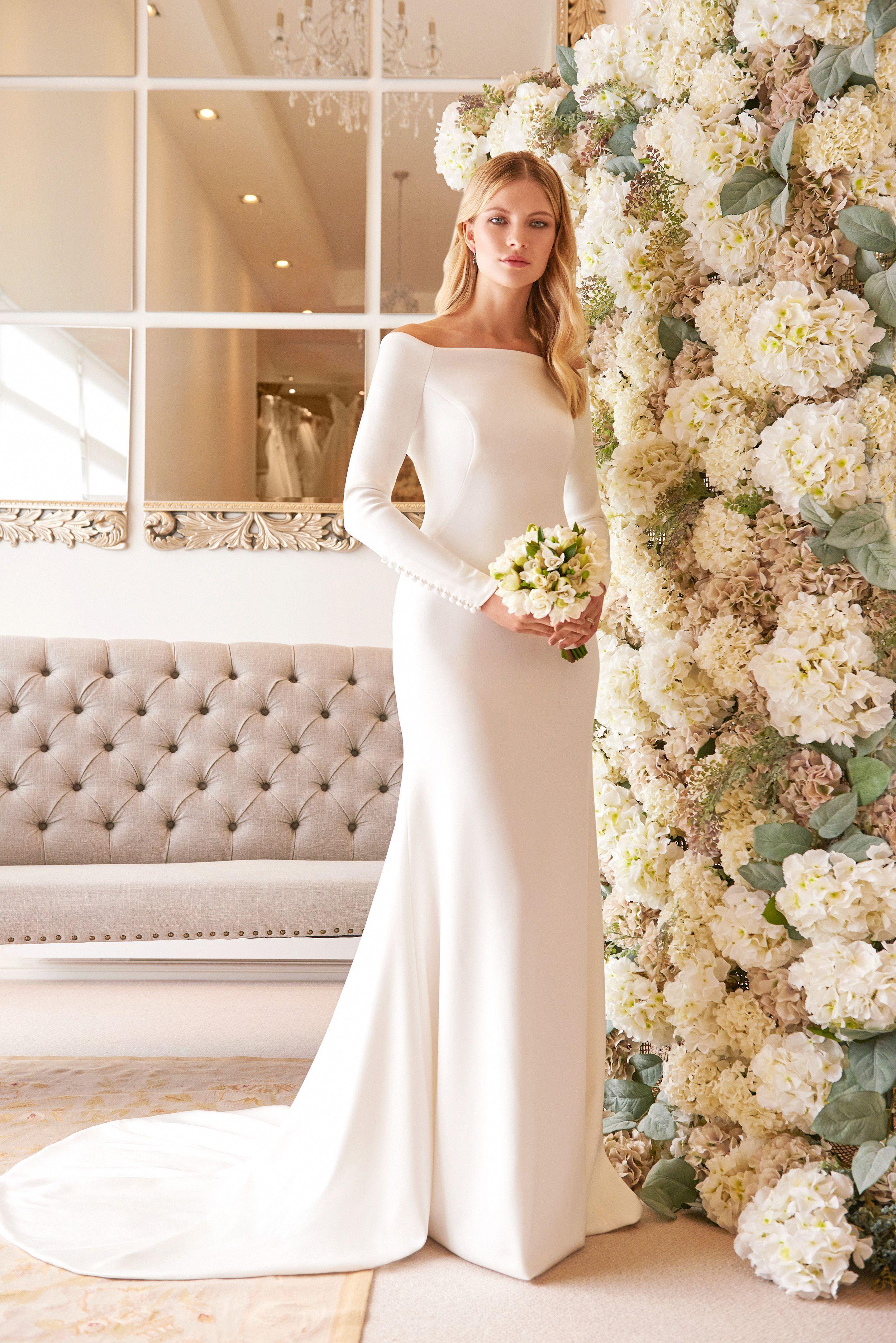 Wedding Dresses Veronika long sleeve stretch satin
