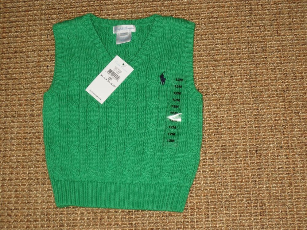 POLO RALPH LAUREN BABY BOY 12 MONTHS SWEATER VEST KELLY GREEN NEW ...