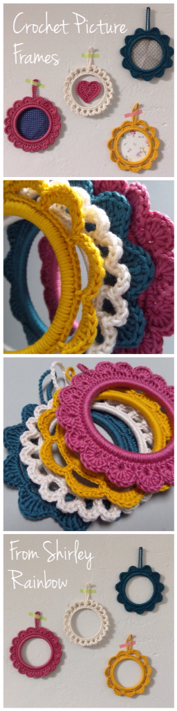 https://folksy.com/items/6676559-Set-of-4-Crocheted-Picture-Frames  Crocheted cotton Frames from Shirley Rainbow- cute way to show off snapshots and pretty papers!