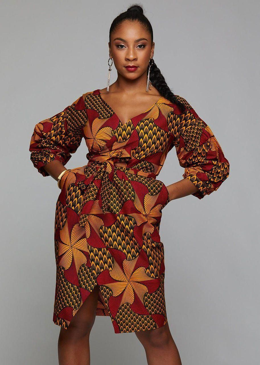 Bisi African Print Pleated Sleeve Wrap Dress (Magenta/Yellow Pinwheels) #africanprintdresses