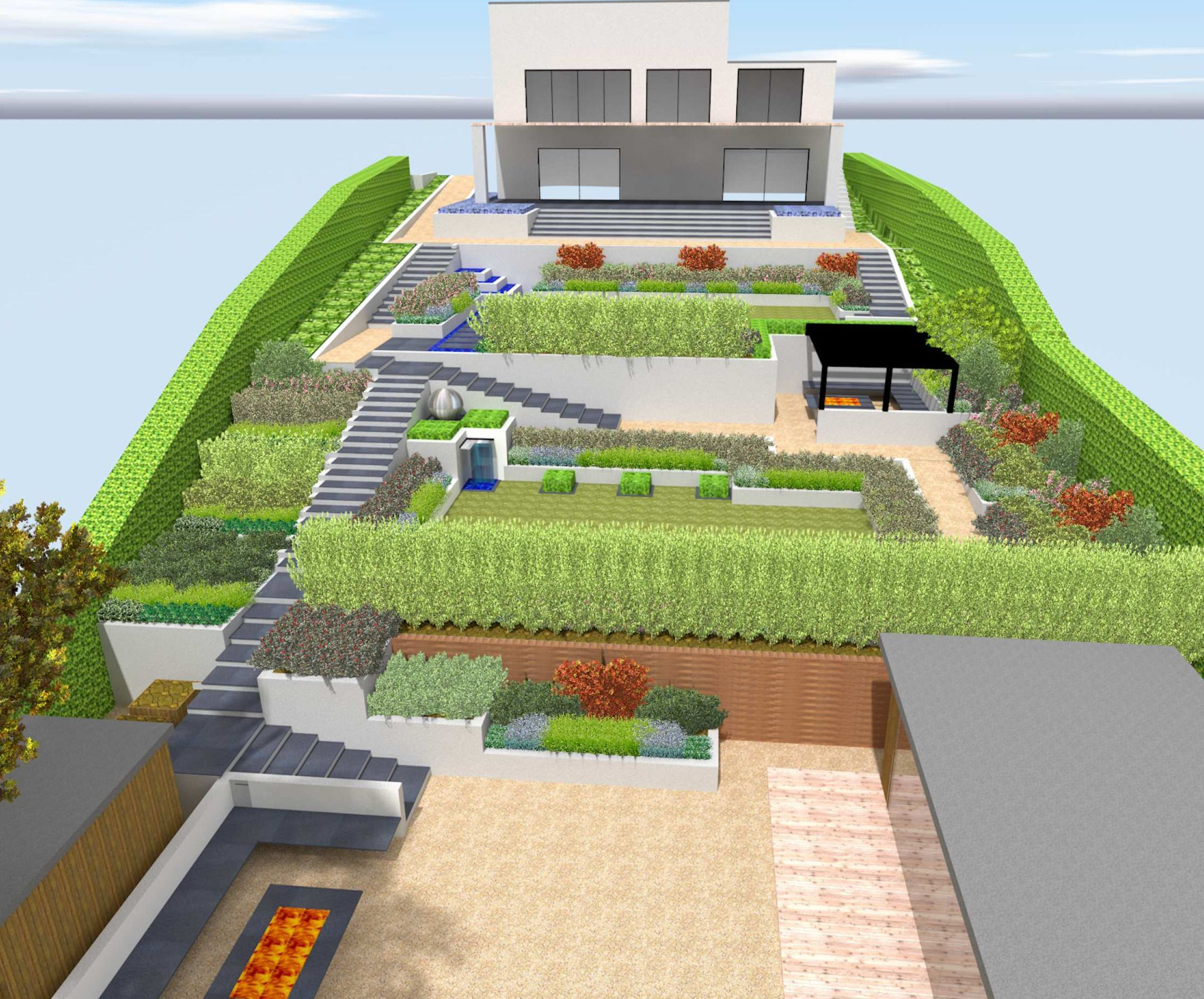 contemporary sloping garden design in guildford, surrey with