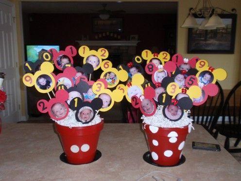 mickey photo display birthday | First Birthday Centerpieces - Mickey and Minnie