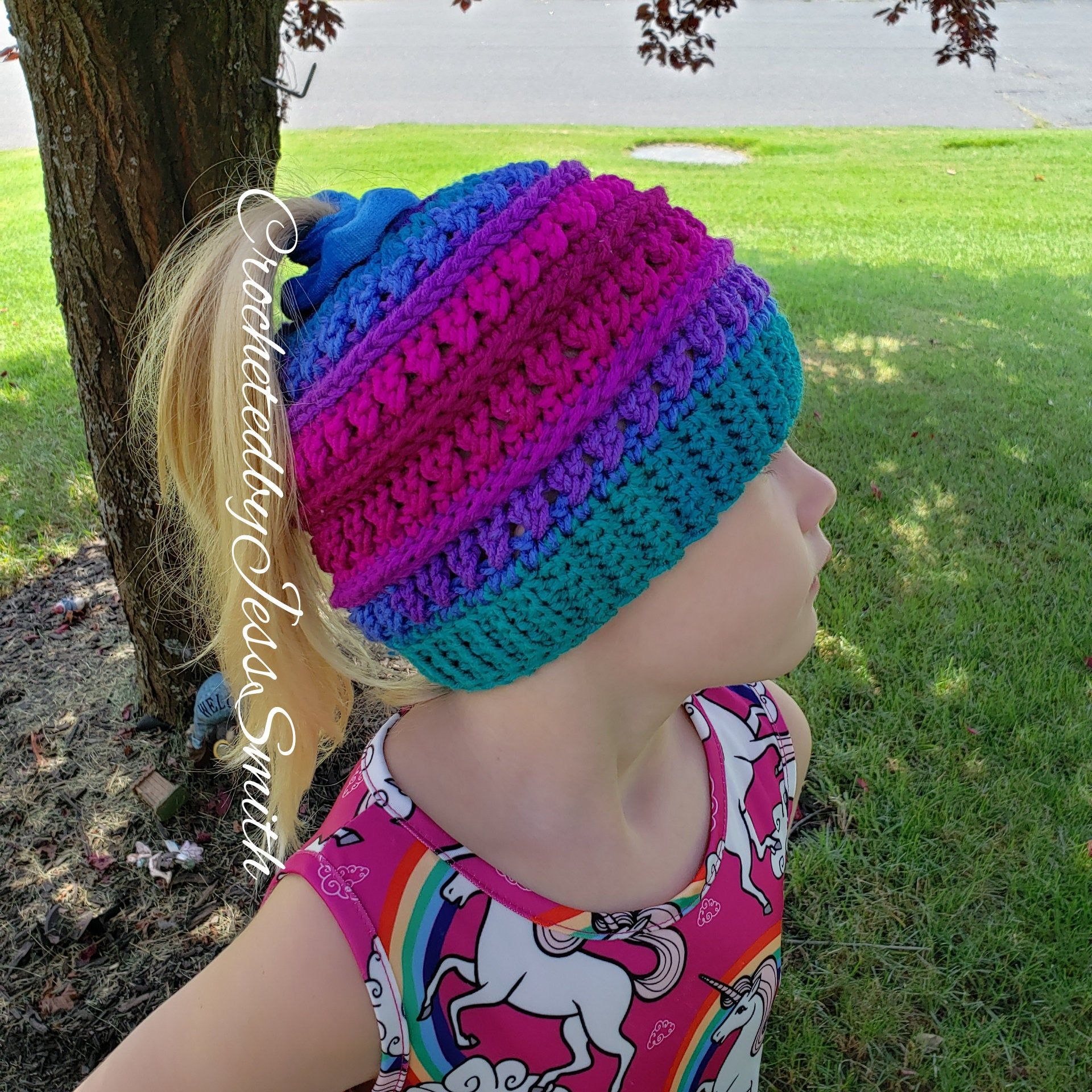 Kids Crochet Messy Bun Hat #messybunhat