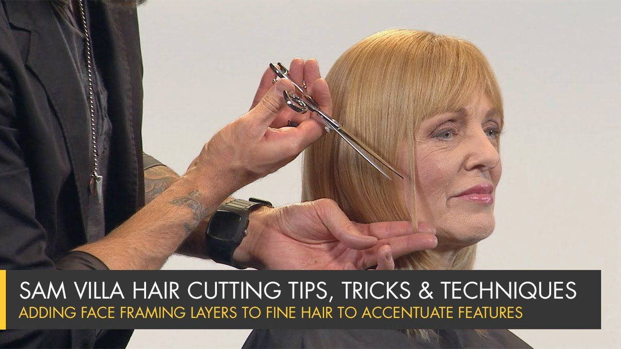 Adding face framing layers to fine hair to accentuate features