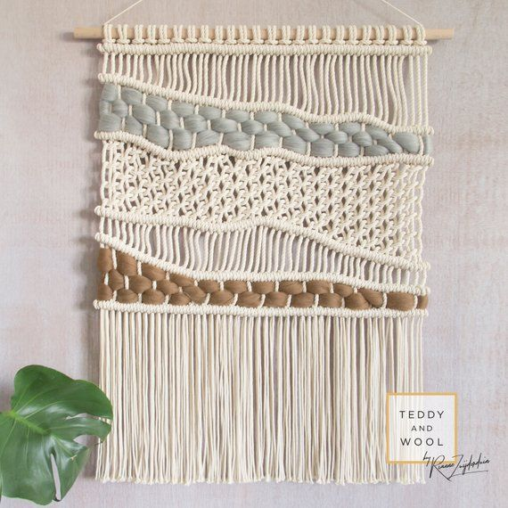 Macrame Wall Hanging - Woven Wall Hanging - Brown and Gray wool - 'Earthy' Macrame Tapestry - ELLA #macramewallhanging