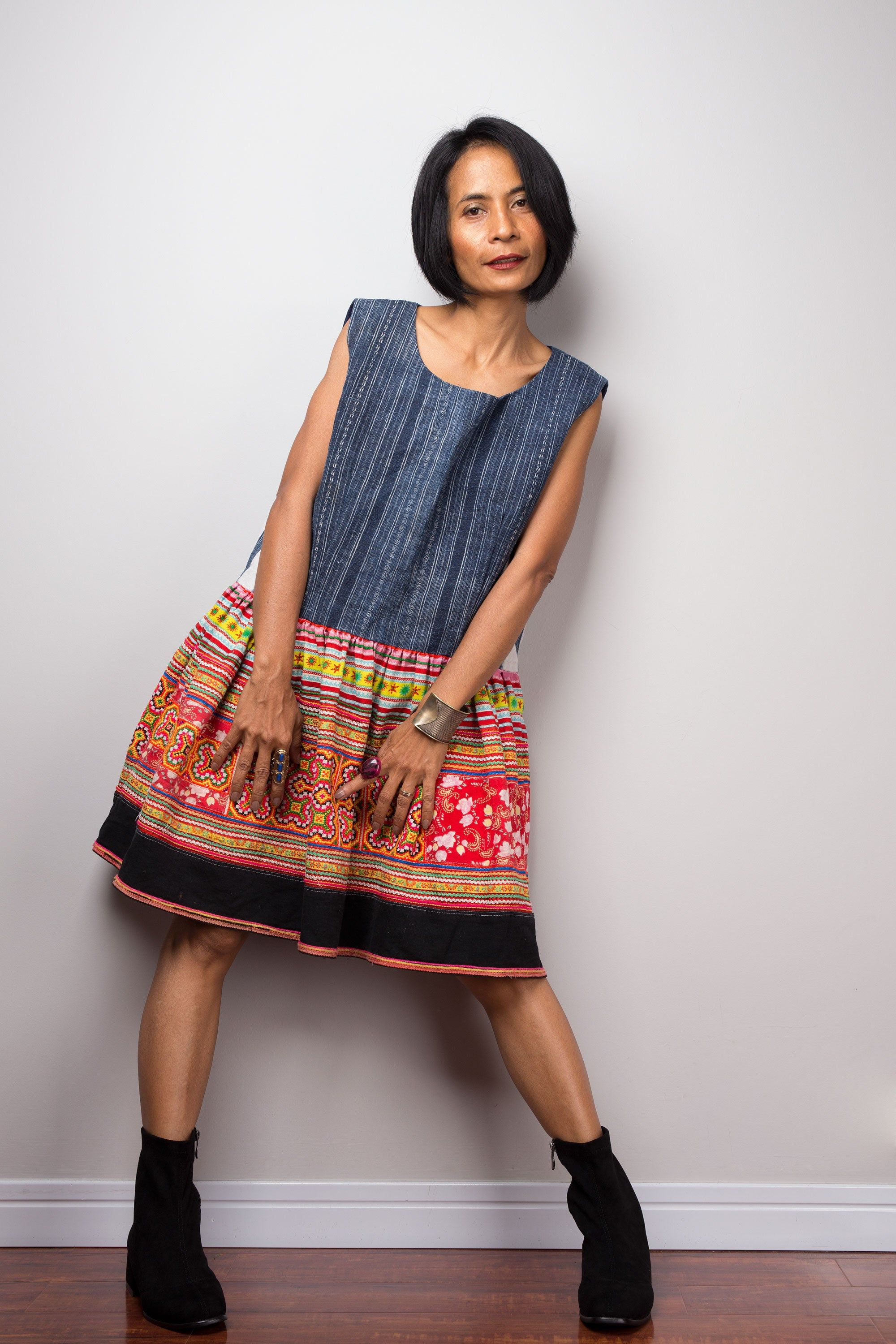 Bohemian Chic Hmong Hill tribe dress | Vintage tribal dress  |Short boho dress 11