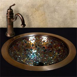 Just like mine only mine are bowls ontop of counter....Glass Mosaic Copper Sink