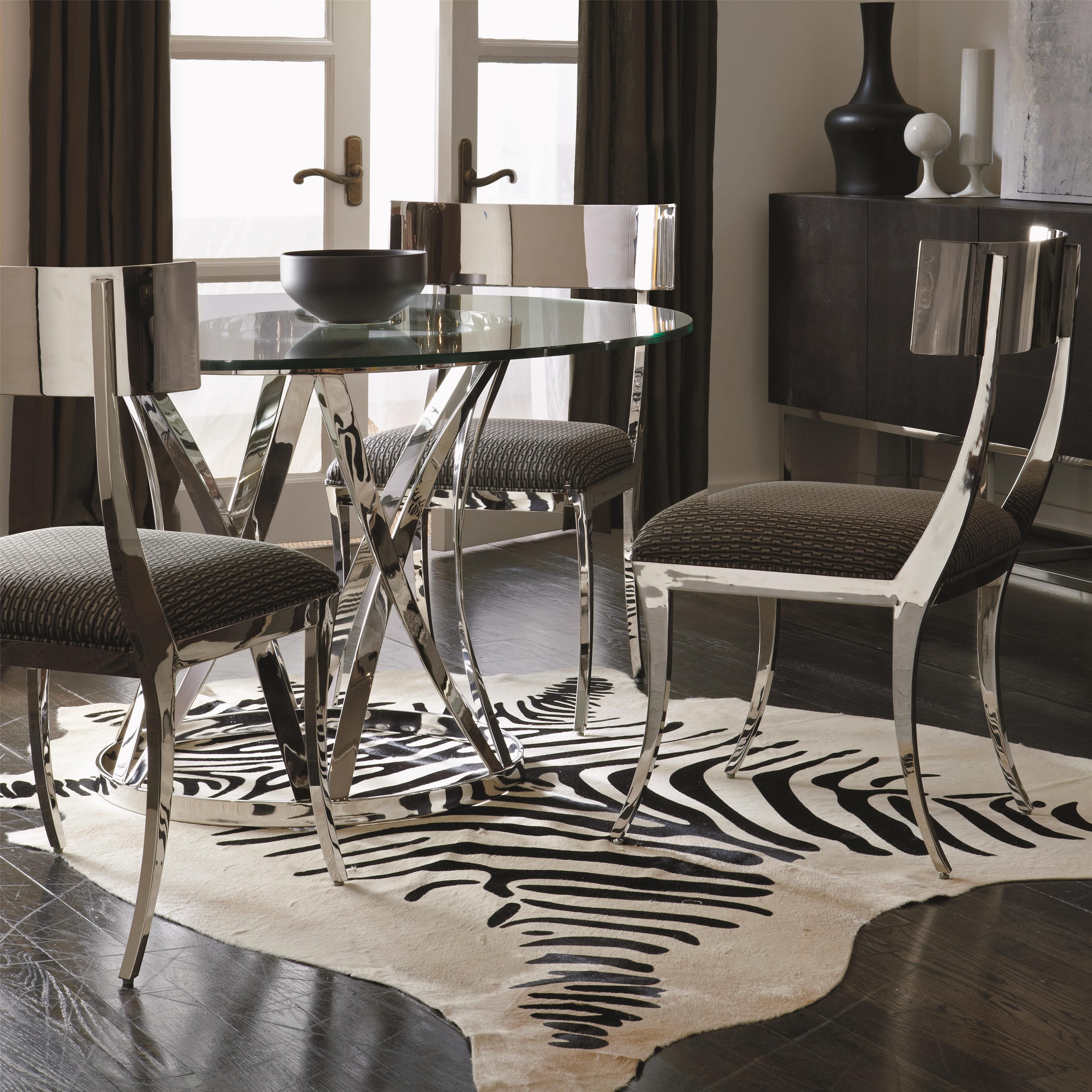 Sleek Modern Dining Table And Chair Set With Round Glass Table Top