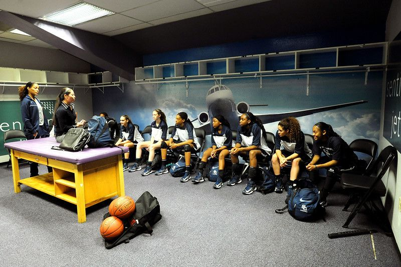 Sierra Canyon girls basketball head coach Alicia Komaki talks to her team