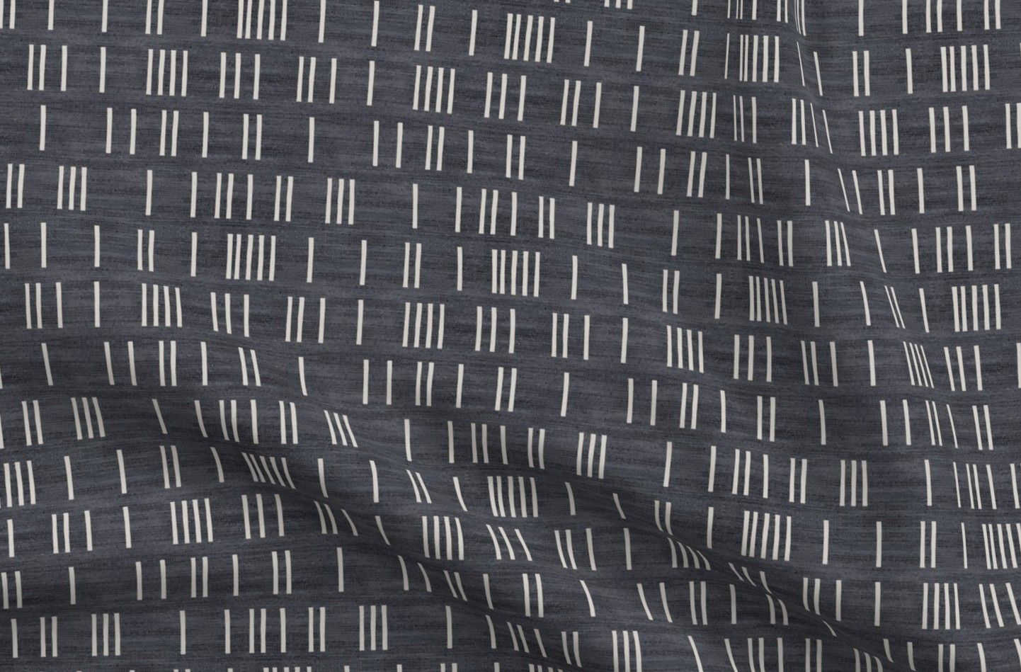 Mud Cloth Cotton Fabric By the Yard Denim_Line_Mud_Cloth Minimalist Tribal Ethnic Geometric Simple Lines Black Woven Holli Zollinger Faded Geo  By Spoonflower