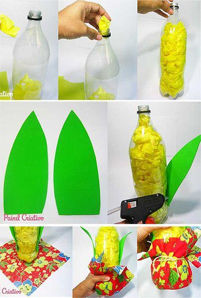 milho pet Festa junina Fruit crafts, Decor e Bottle cap art # Decoração De São João Com Material Reciclado