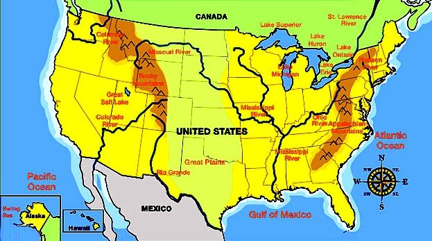 Map Of US And Canada With Rivers Mountains Plains Homeschool - Great Plains On Us Map