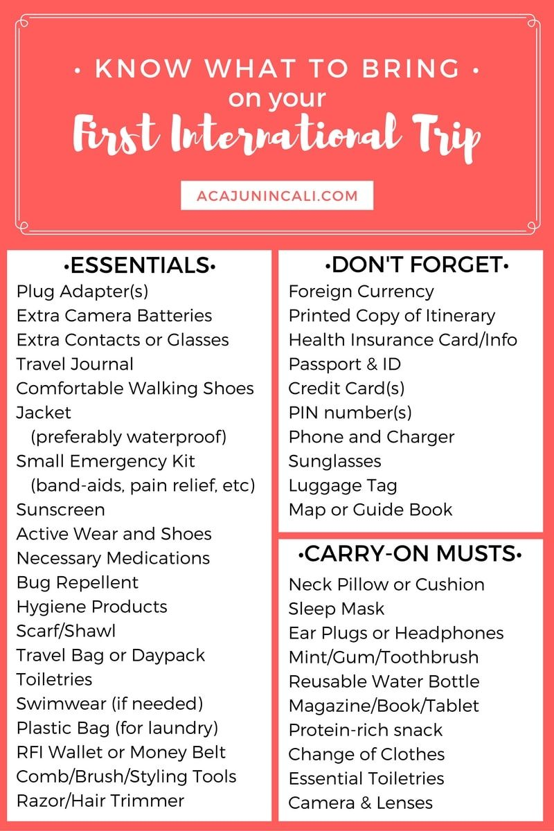 Know What To Bring On Your First International Trip Packing Tips