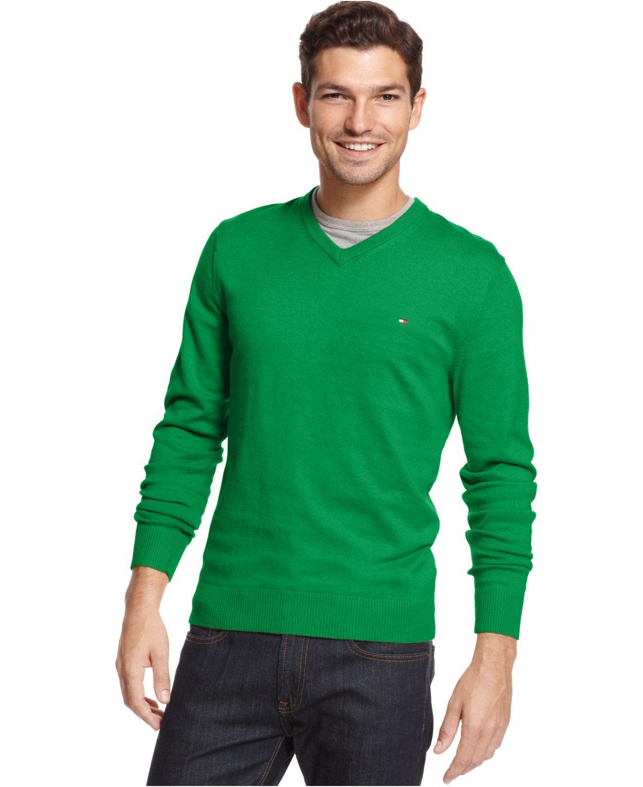 Tommy Hilfiger Pima Cotton and Cashmere-Blend V-Neck Sweater ...