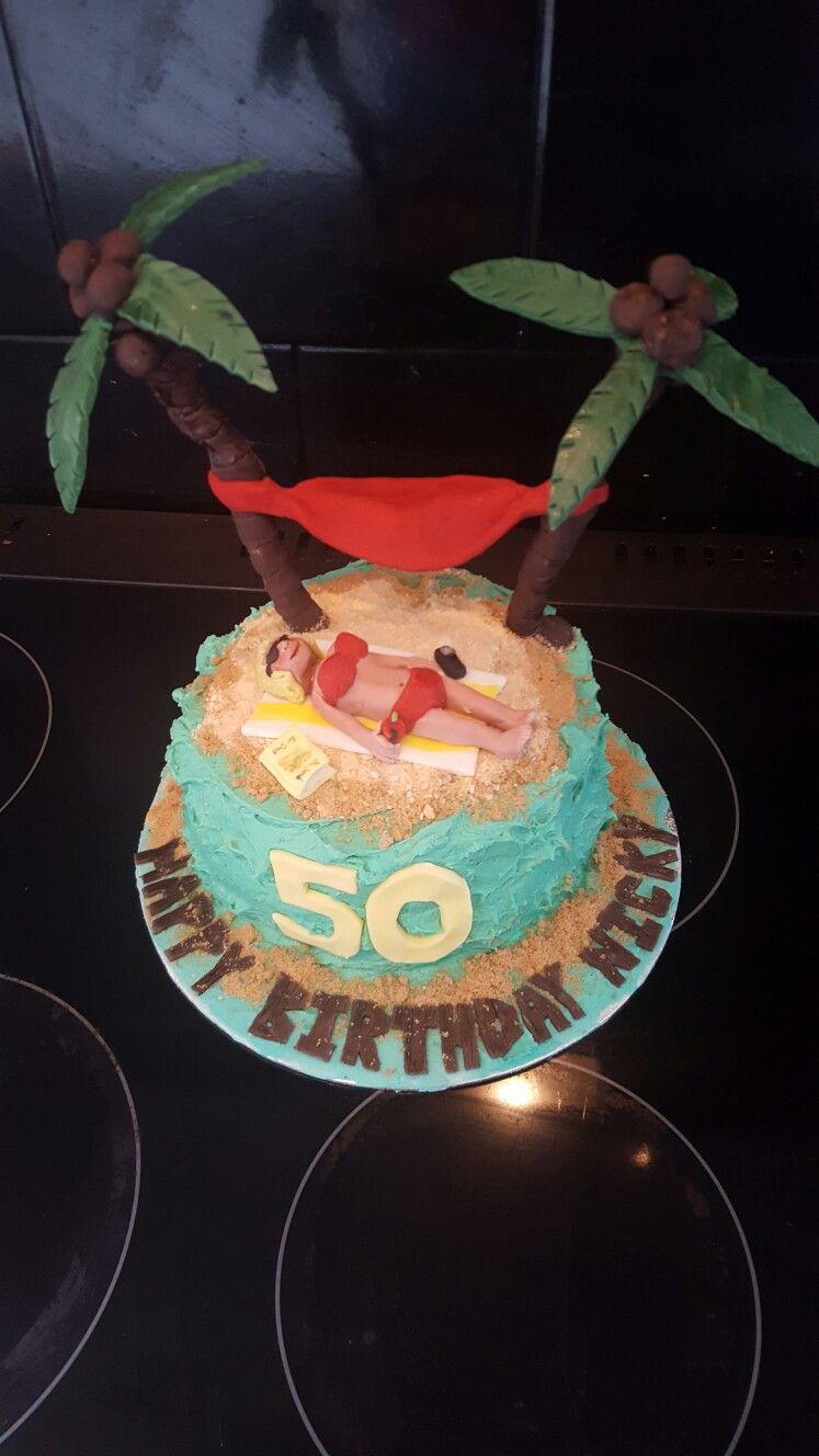 Beach themed cake, palm trees, tropical.