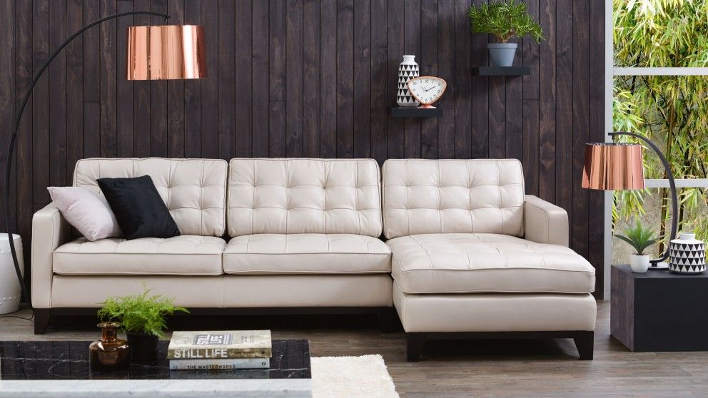 Gilbert 3 Seater Leather Lounge With Chaise Lounges