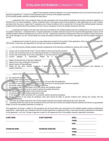 Downloadable Eyelash Extension Consent Form Extensions and Cosmetology
