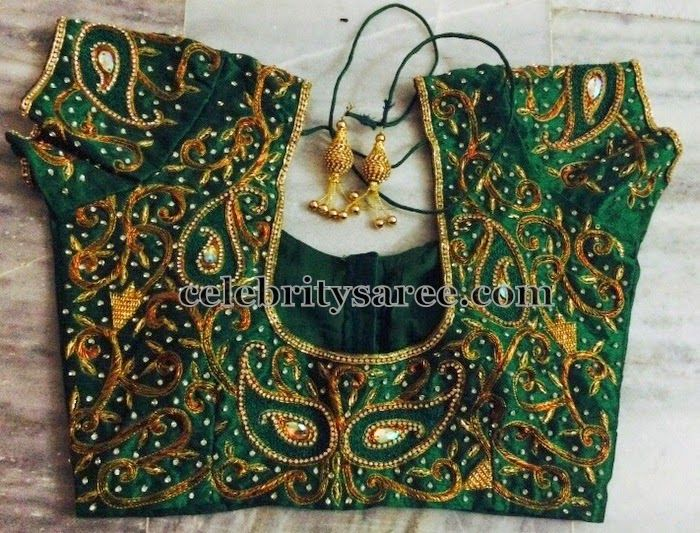 Green Blouse with All Over Maggam Work | Heavy work bridal blouse ...