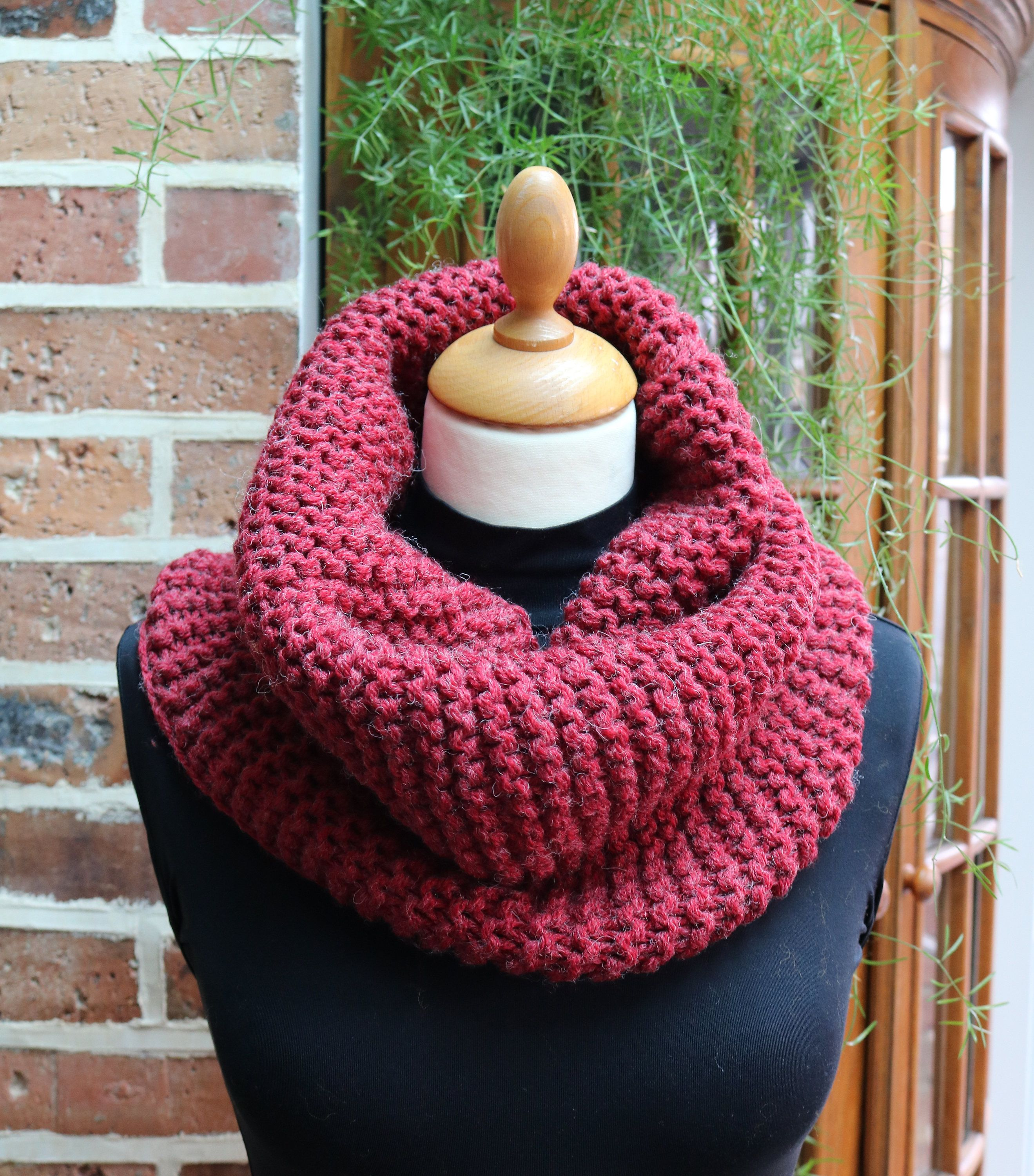 Hand knitted raspberry snood infinity scarf neck warmer hand knitted raspberry snood infinity scarf neck warmer christmas gift wool gift bankloansurffo Choice Image