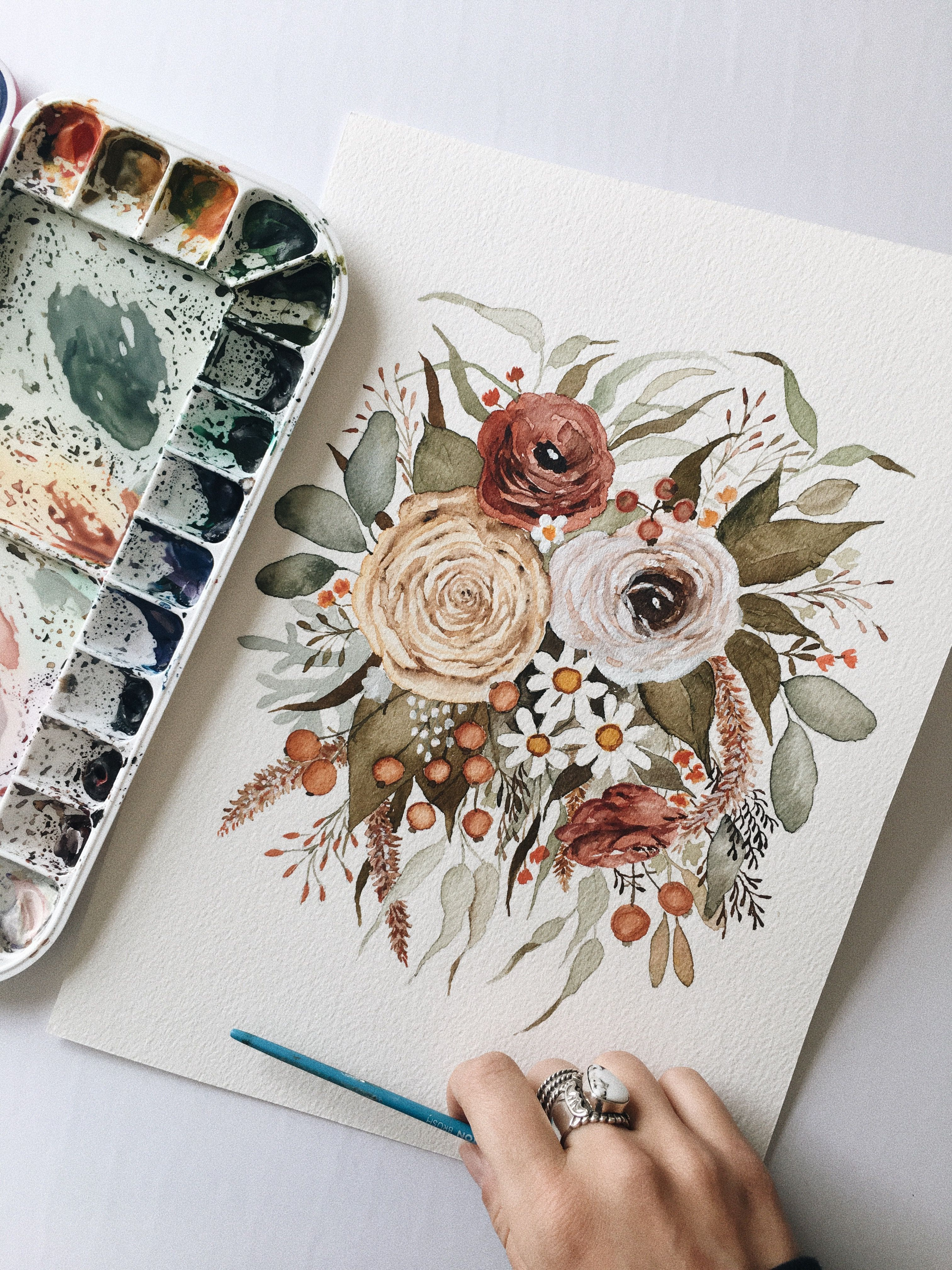 Fall Toned Bridal Bouquet Commission Watercolor Wedding Flowers