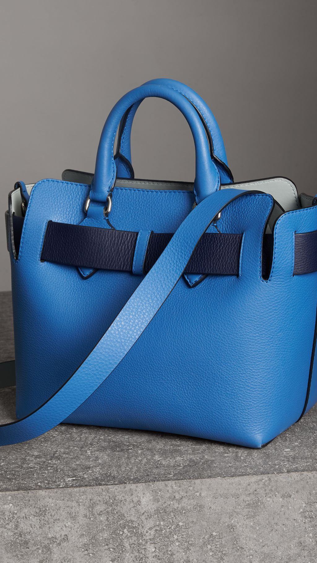 aaf9a15caa4 The Small Leather Belt Bag in Hydrangea Blue - Women   Burberry ...