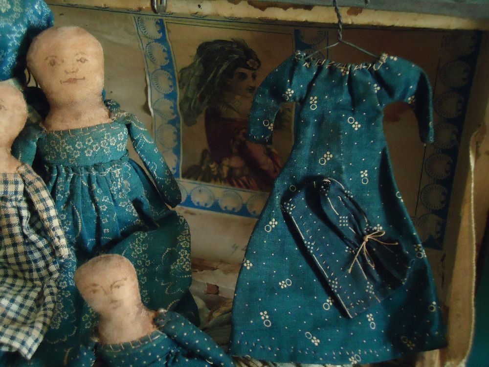 Blue Calico Norma Schneeman Doll Dress and bonnet hand sewn primitive fun