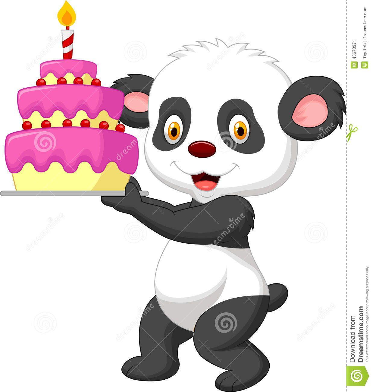Desenhos animados da panda com bolo de aniversário | panda ...