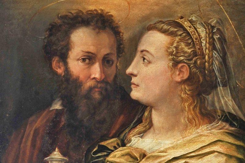 Giorgio Vasari (1511-1574) -  Ritratto di Giorgio Vasari e della moglie Niccolosa Bacci, dettaglio -  Arezzo, Chiesa della Badia delle Sante Flora e Lucilla