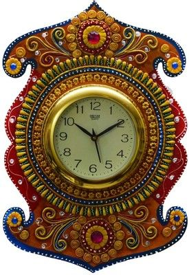 eCraftIndia Kundan Studded Analog Wall Clock Price in India Buy