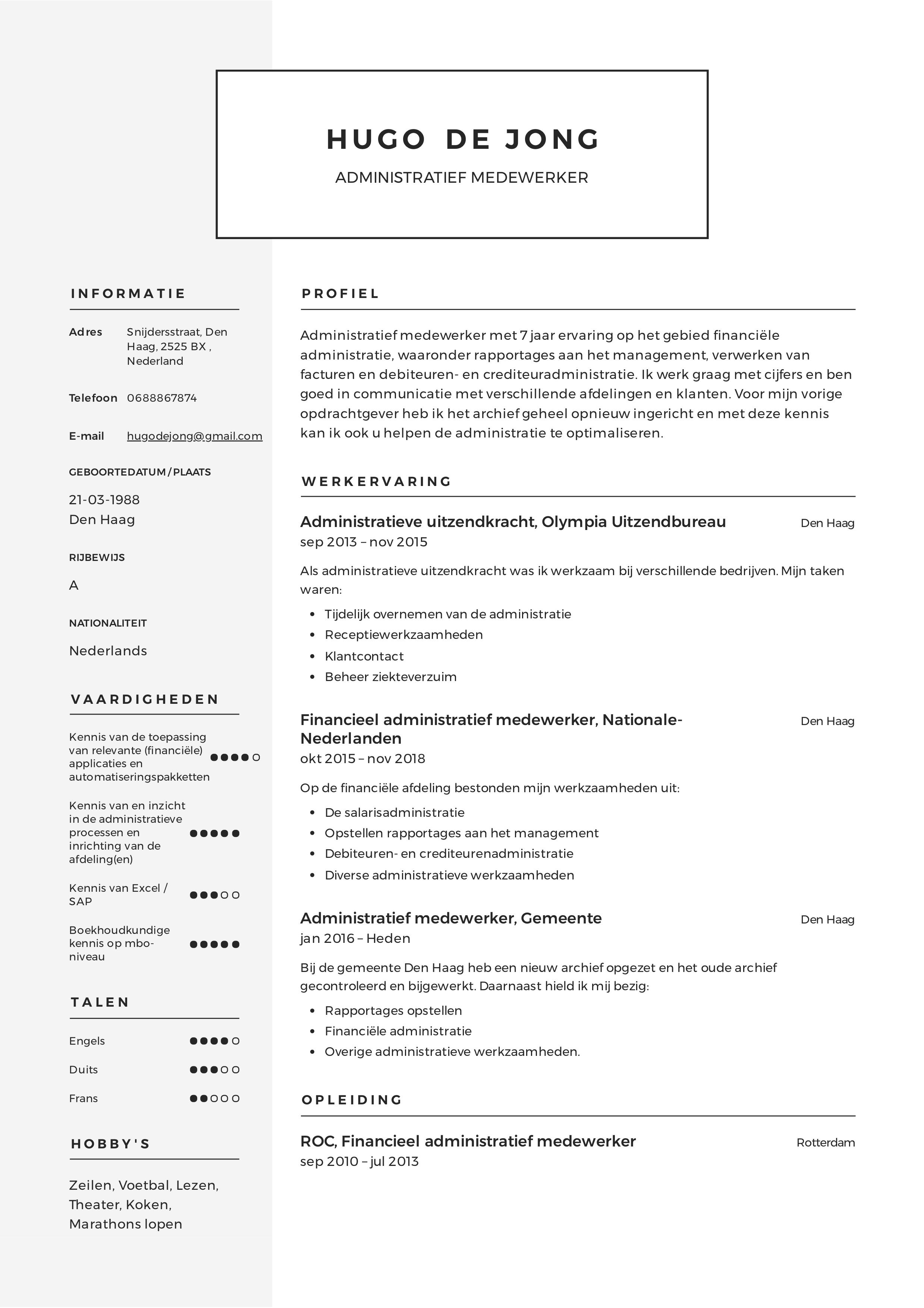 Administratief Medewerker CV Voorbeeld in 2020 Notuleren