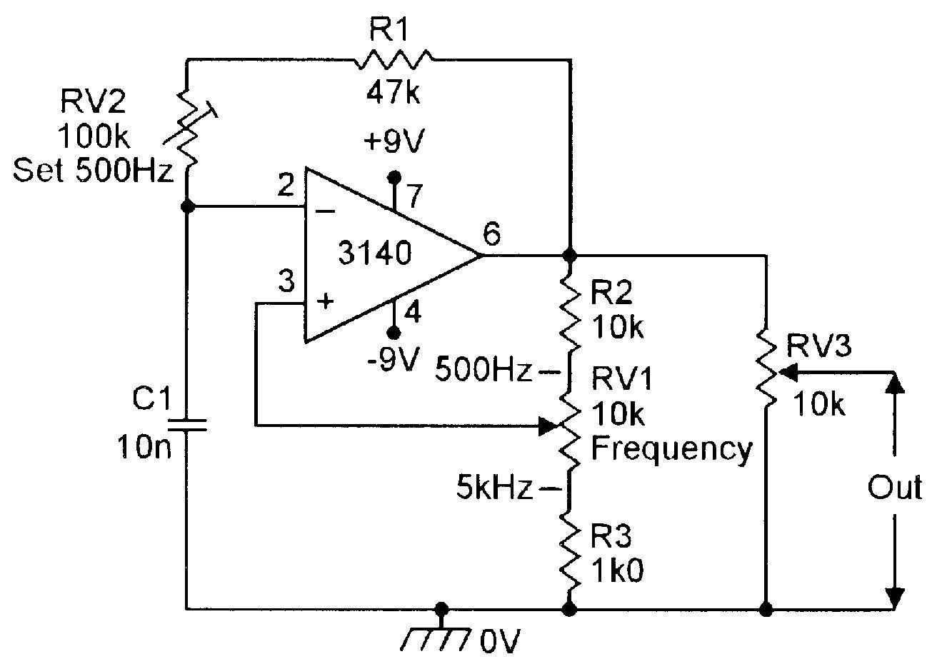 Improved 500Hz5kHz squarewave generator. Electronic
