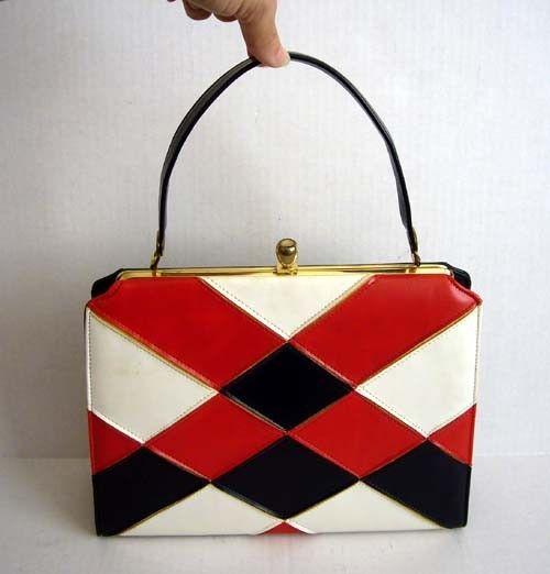 Vintage 60 s Mod Red White Blue Purse Handbag  edf3ba11d3dc0