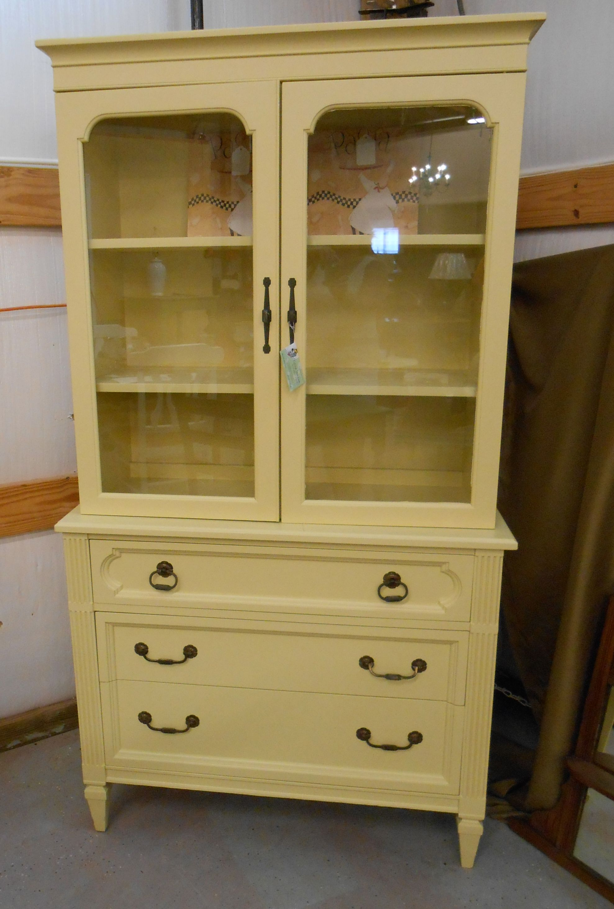 Vintage China Hutch Cabinet Kept Original Hardware Painted With SW June Day