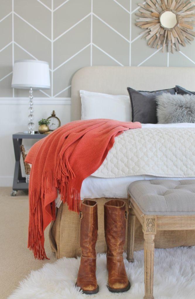 Mini Master Bedroom Makeover u0026 DIY Herringbone