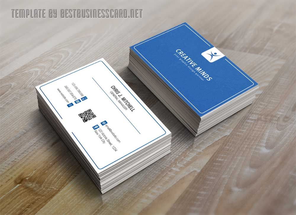 blue and white minimalist business card PSD template => More at ...