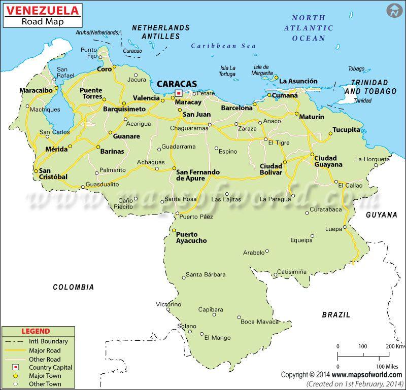 Mapa De Carreteras De Venezuela Venezuela Mapas De Carreteras