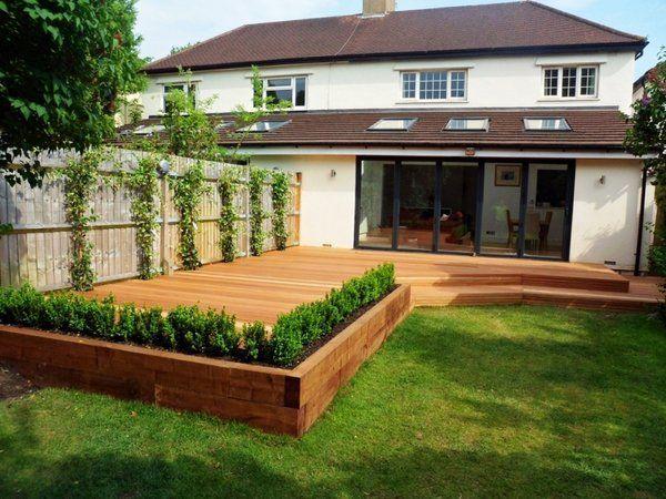 garden sleepers railway sleepers patio decking ideas garden ...