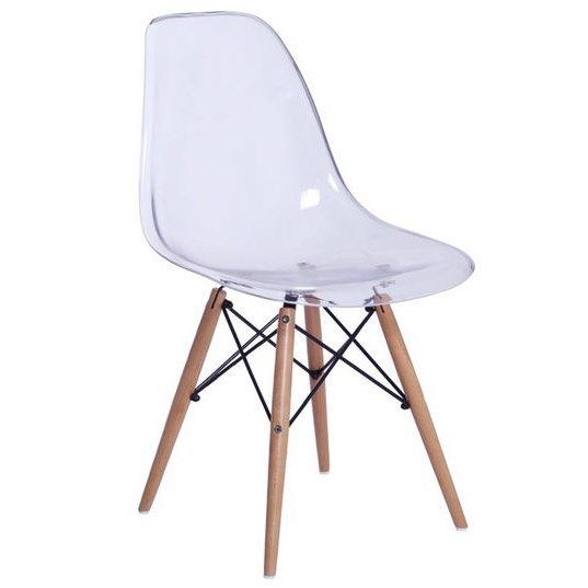 Fine Mod Imports Fmi10087 Clear Glosswood Dining Side Chair In