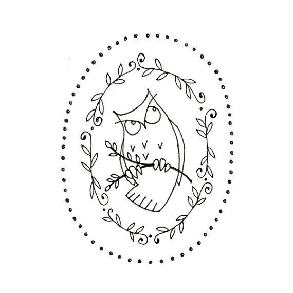 Owl Printable Embroidery Pattern Woodland Critter Digital