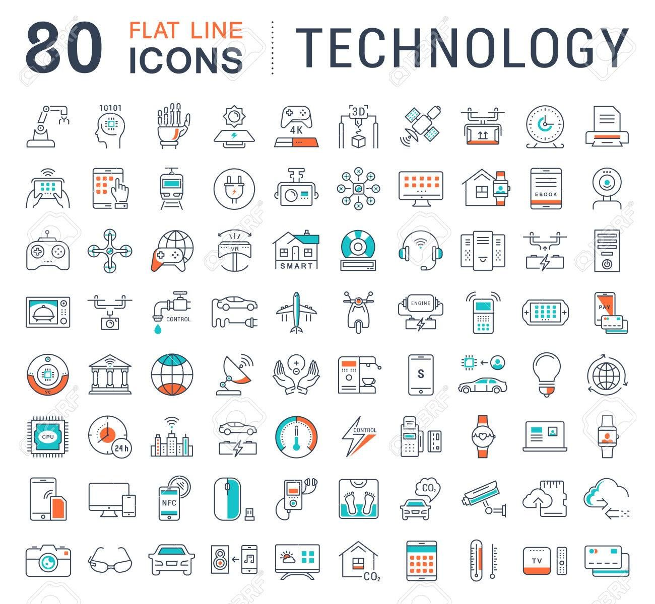 Set Vector Line Icons In Flat Design Technology Electric Car Smart City House Internet Of Things Online Paymen Line Icon Technology Icon Logo Infographic