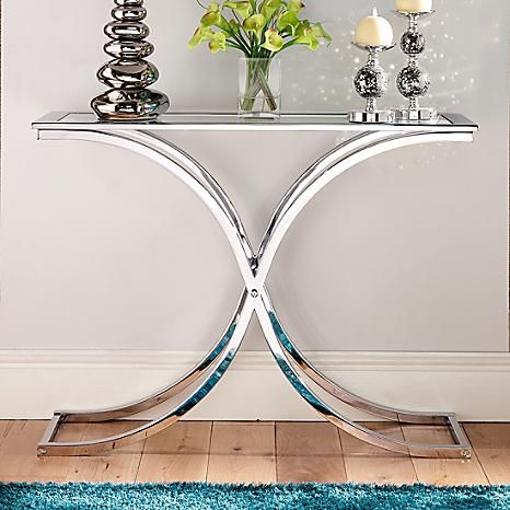 Delicieux Houston Glass U0026 Chrome Console Table