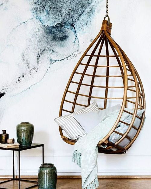 #Watercolor #Wallpaper #HangingChair #SideTable #Jars #Stylish - Architecture and Home Decor - Bedroom - Bathroom - Kitchen And Living Room Interior Design Decorating Ideas - #architecture #design #interiordesign #homedesign #architect #architectural #homedecor #realestate #contemporaryart #inspiration #creative #decor #decoration