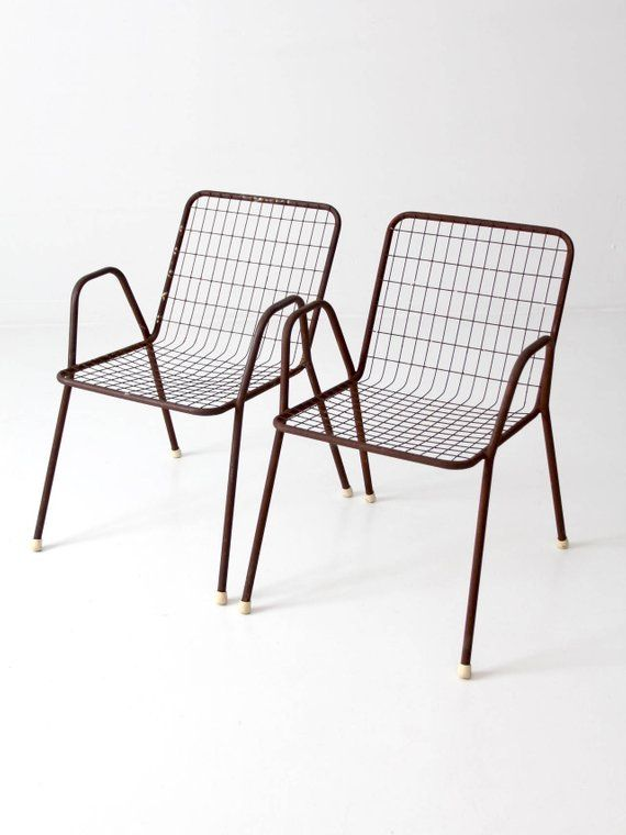 Groovy Mid Century Patio Chairs Metal Wire Chairs Set Of 2 Bralicious Painted Fabric Chair Ideas Braliciousco