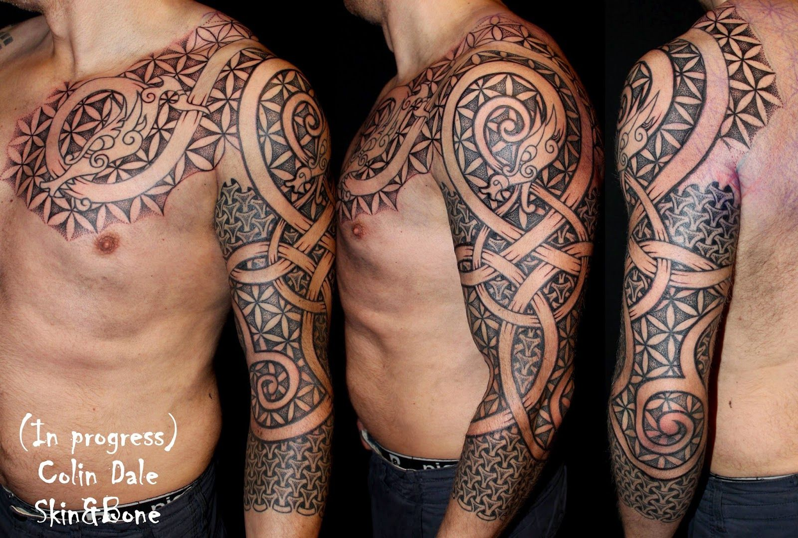 Skin bone inked pinterest bones people and tattoo for Norse tattoo sleeve
