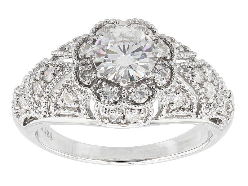 Moissanite Fire Tm 1 36ctw Diamond Equivalent Weight Round Platineve Tm Ring Moissanite Jewelry Jewelry Online Jewelry