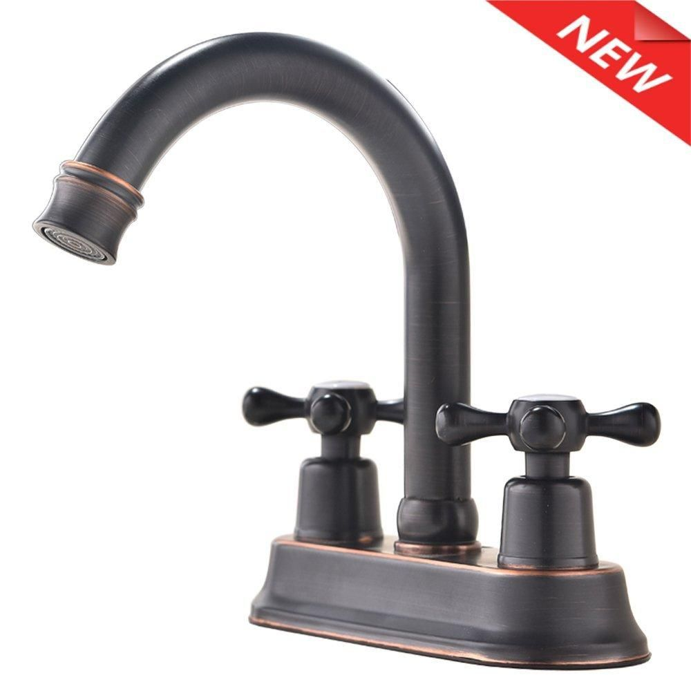 Ufaucet Modern Oil Rubbed Bronze 2 Handle Widespread Stainless