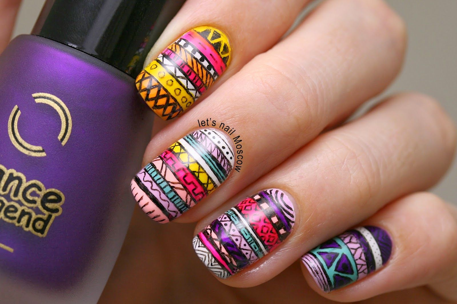 nail #nails #nailart detailed tribal colourful mail design | Beauty ...
