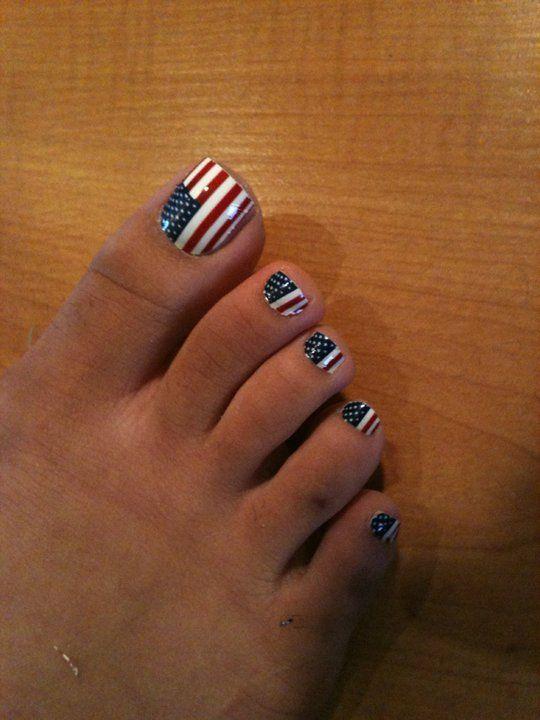 Memorial Day Nail Art American Flag Nails Usa Pedi 4th Of July