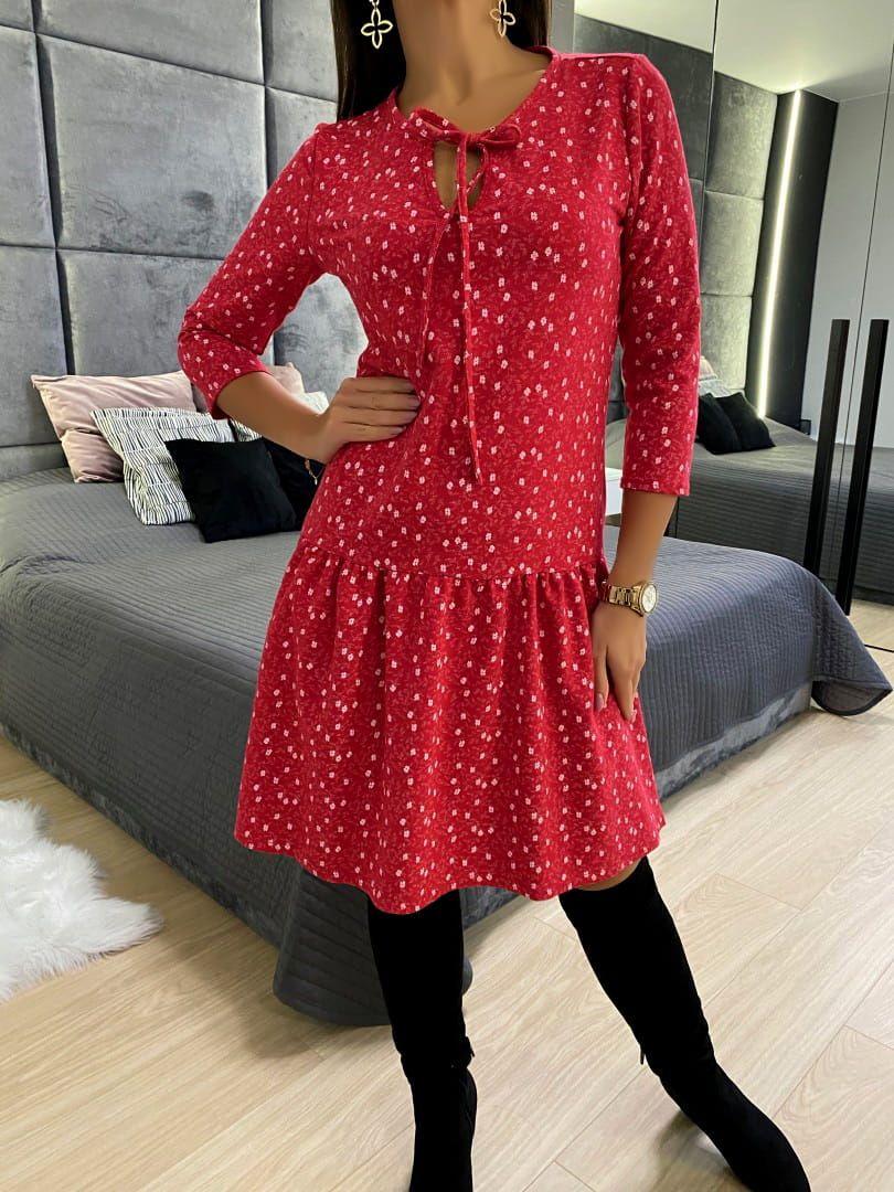 Czerwona Sukienka W Kwiatki 4649 73 C Dresses With Sleeves Fashion Long Sleeve Dress