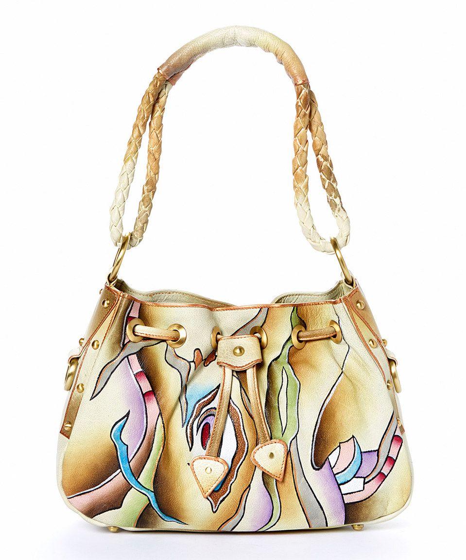 Magnifique Bags Cream Purple Soul Wave Hand Painted Leather Shoulder Bag By
